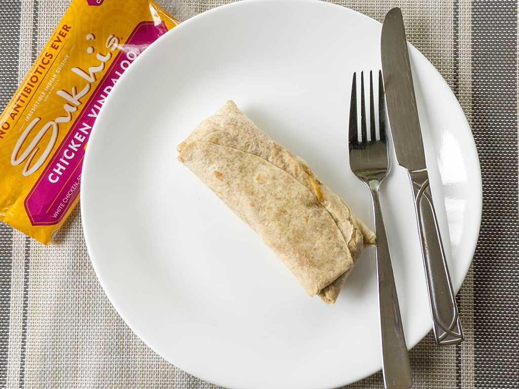 Sukhis Chicken Vindaloo Street Wrap inside packet