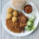 Meat free BBQ jackfruit  plate with Walmart hushpuppies