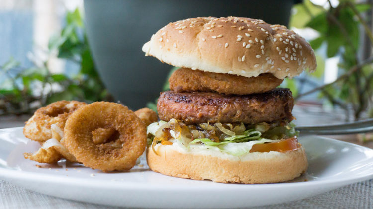 The Beyond Burger with onion rings