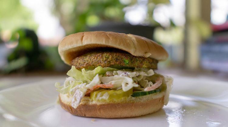 dr Praeger's California Veggie Burger with slaw and veggies