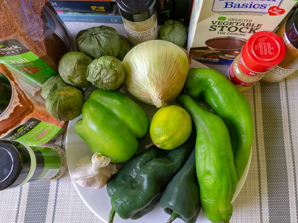 Vegan Chile Verde ingredients