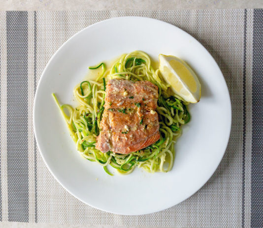 Salmon in parsely butter sauce with zoodles