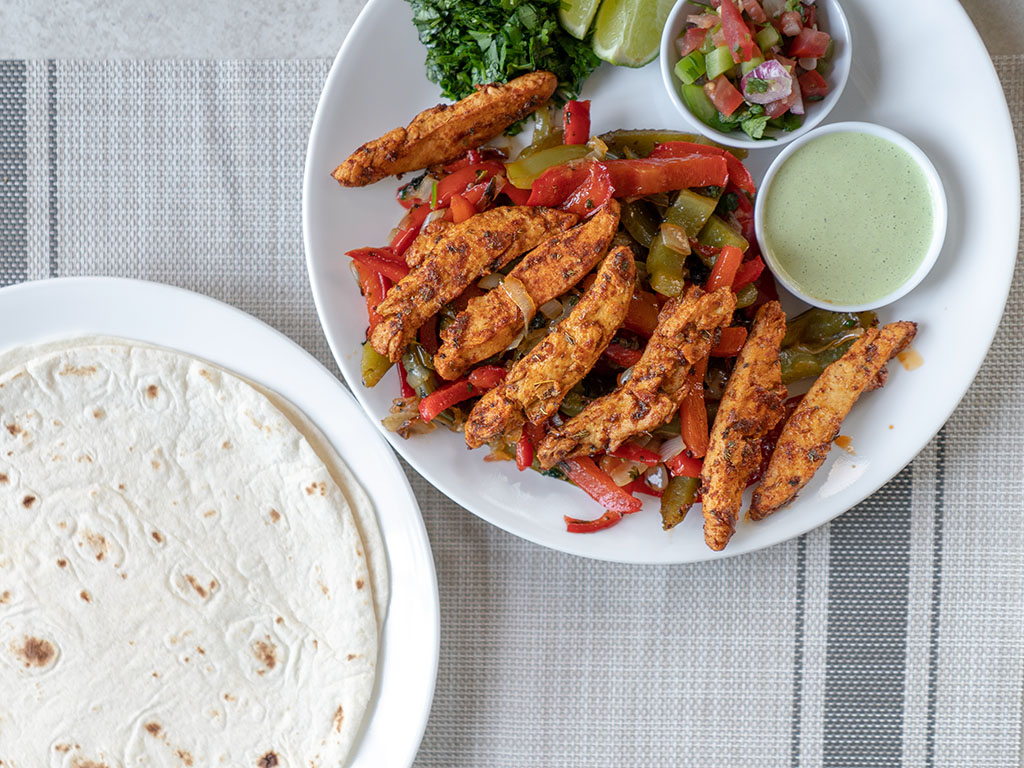Fajitas with Gardein chicken strips