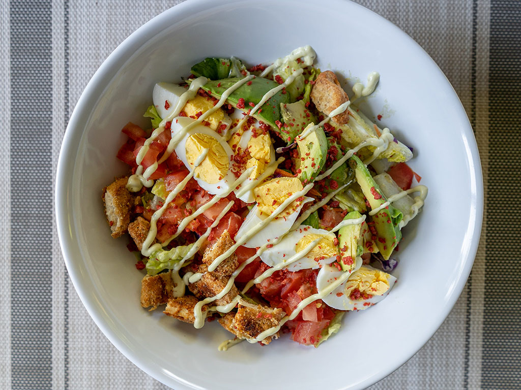 Cobb salad with gardein seven grain tenders