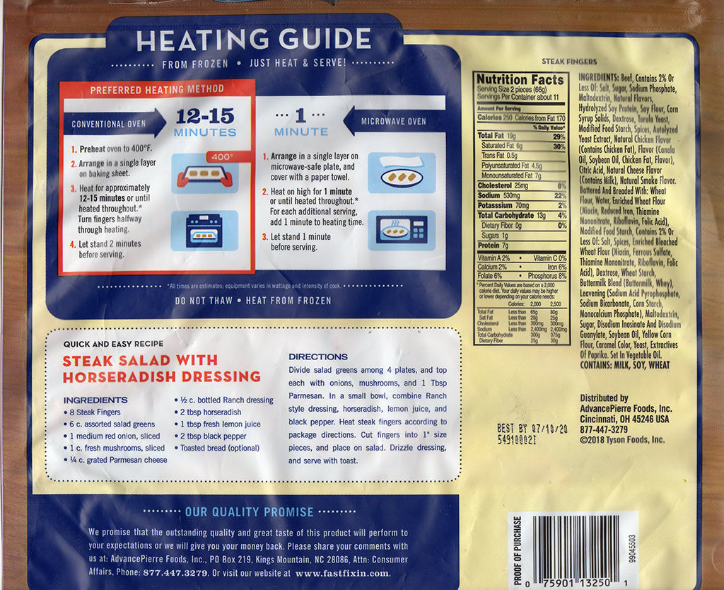 Fast Fixin Steak Fingers cooking instructions, nutrition, ingredients