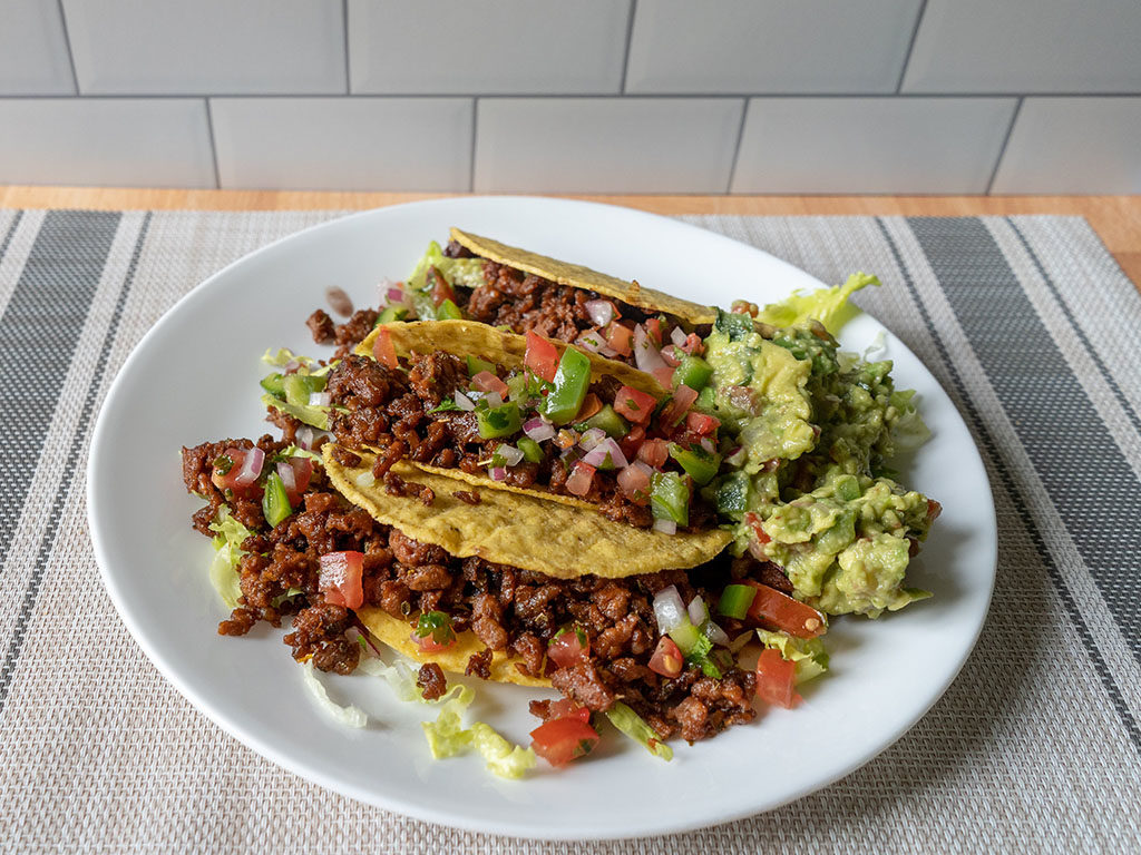 Beyond Meat Beyond Beef - tacos top down view