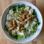 Caesar salad with air fried gardein tenders