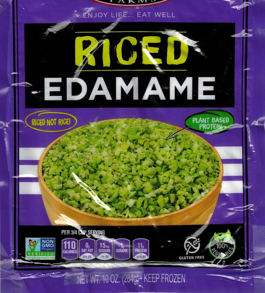 Seapoint Farms Riced Edamame package front