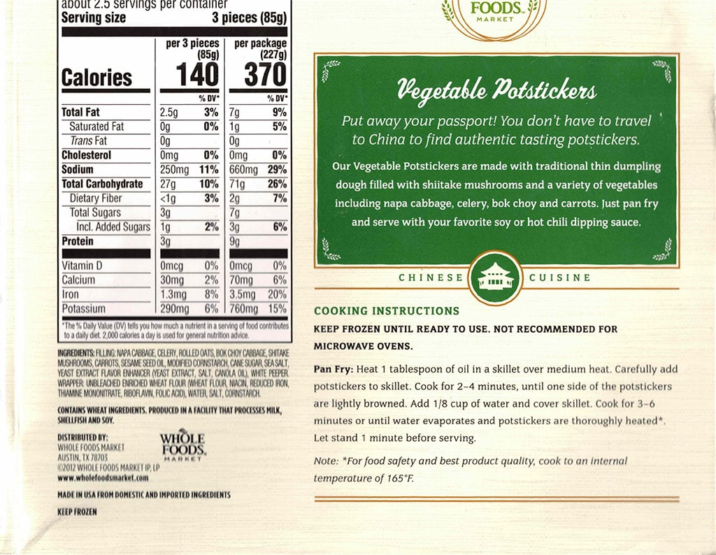Whole Foods Vegetable Potstickers nutrition, ingredients, cooking instructions