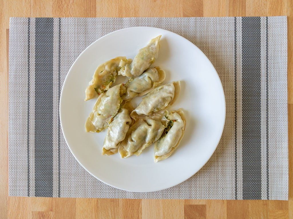 Whole Foods Vegetable Potstickers out of the pan