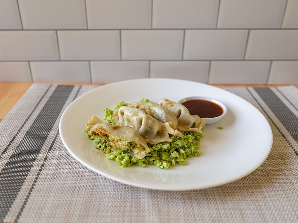 Whole Foods Vegetable Potstickers with seapoint farms edamame side view