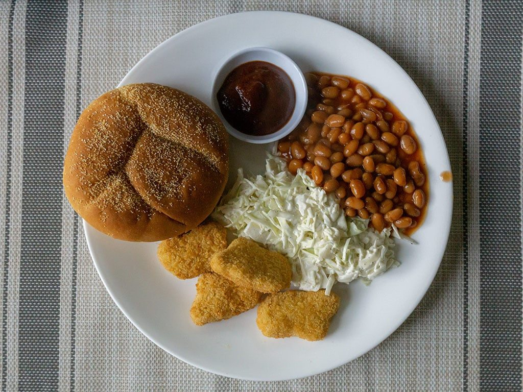 365 Breaded Chickenless Nuggets on BBQ plate