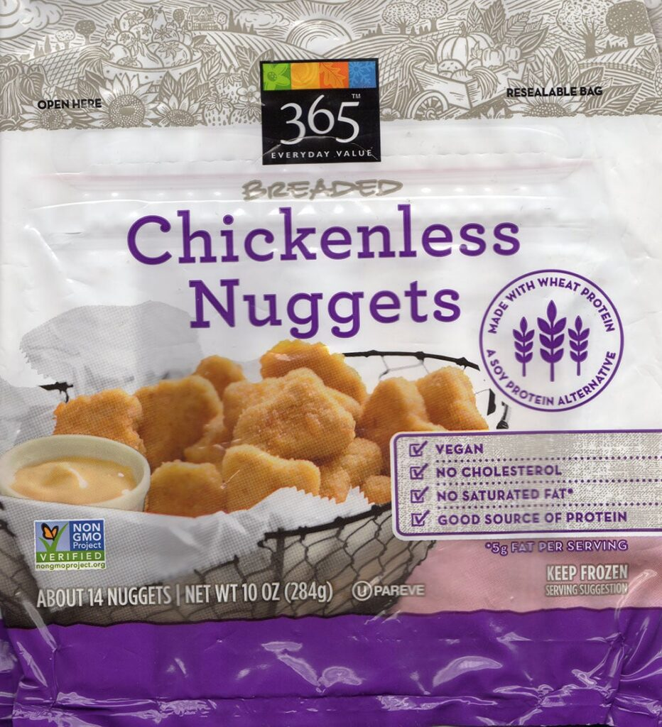 365 Breaded Chickenless Nuggets package front