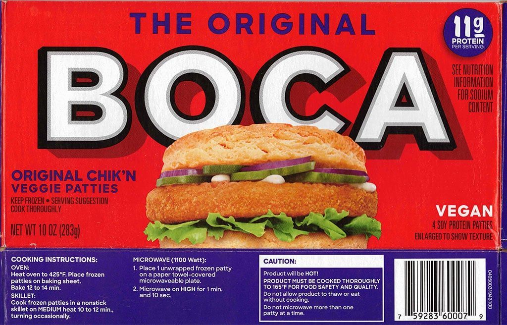 Boca Original Chick'N Veggie Patties cooking instructions