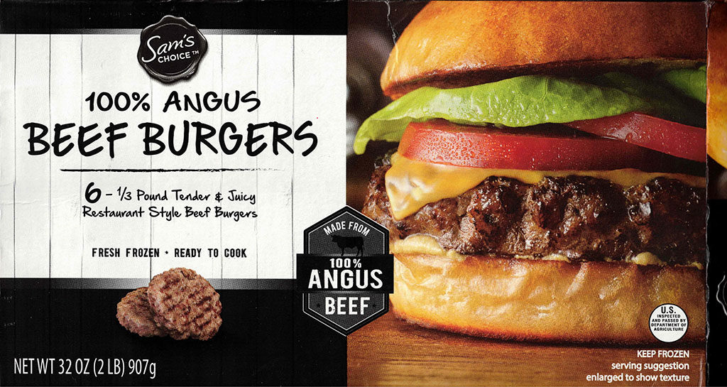 Sams Choice Angus Beef Burgers package front