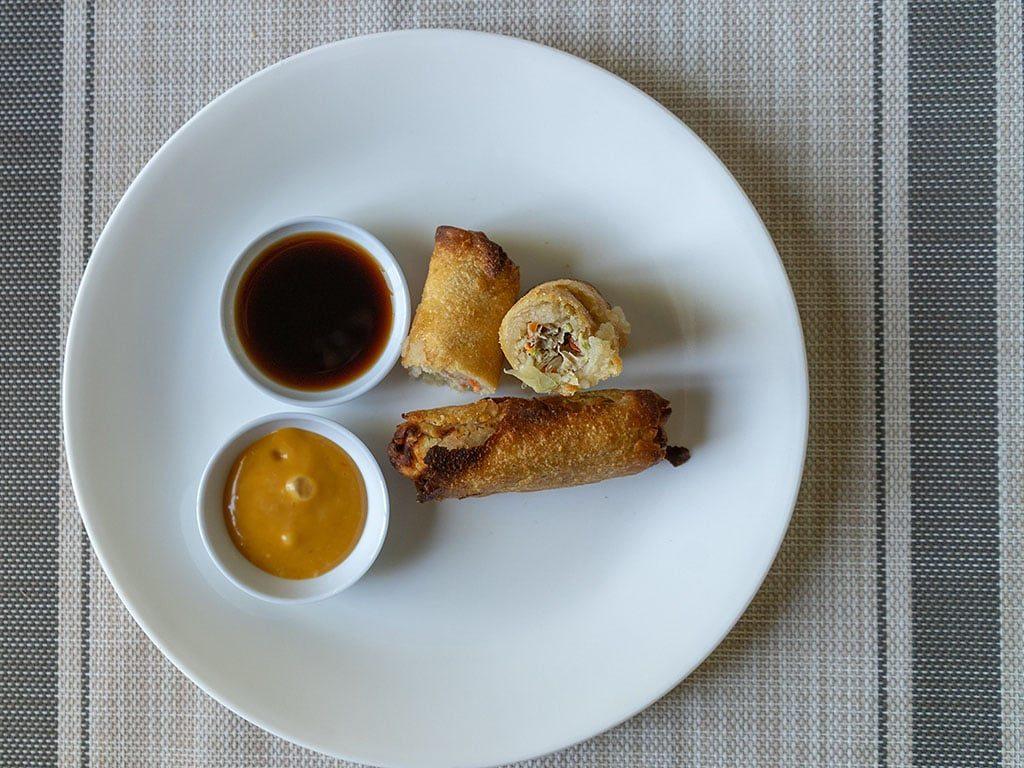 Tai Pei Chicken Egg Rolls air fried interior