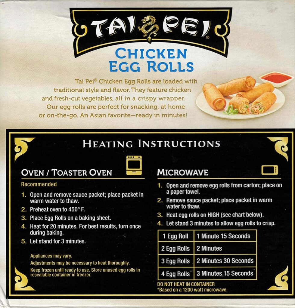 Tai Pei Chicken Egg Rolls cooking instructions