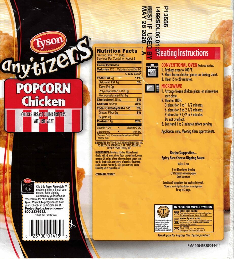 Tyson Anytizers Popcorn Chicken nutrition, cooking instructions, ingredients