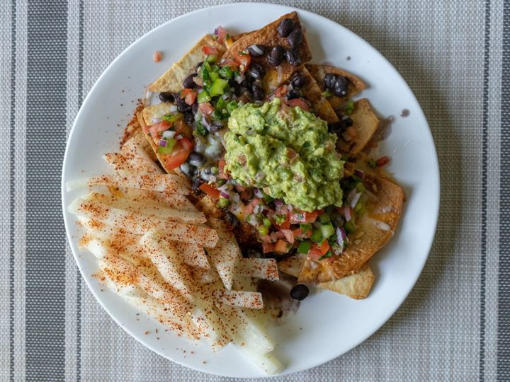 Air fried nachos with jicama