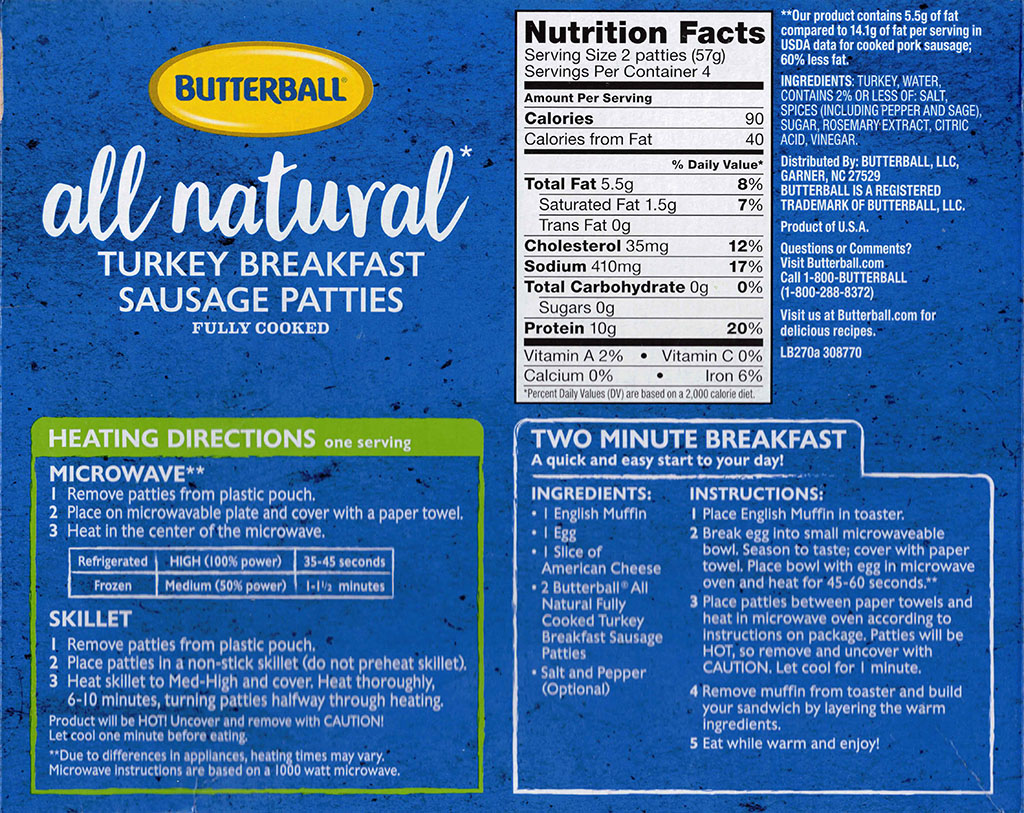 Butterball Turkey Breakfast Sausage Patties package ingredients