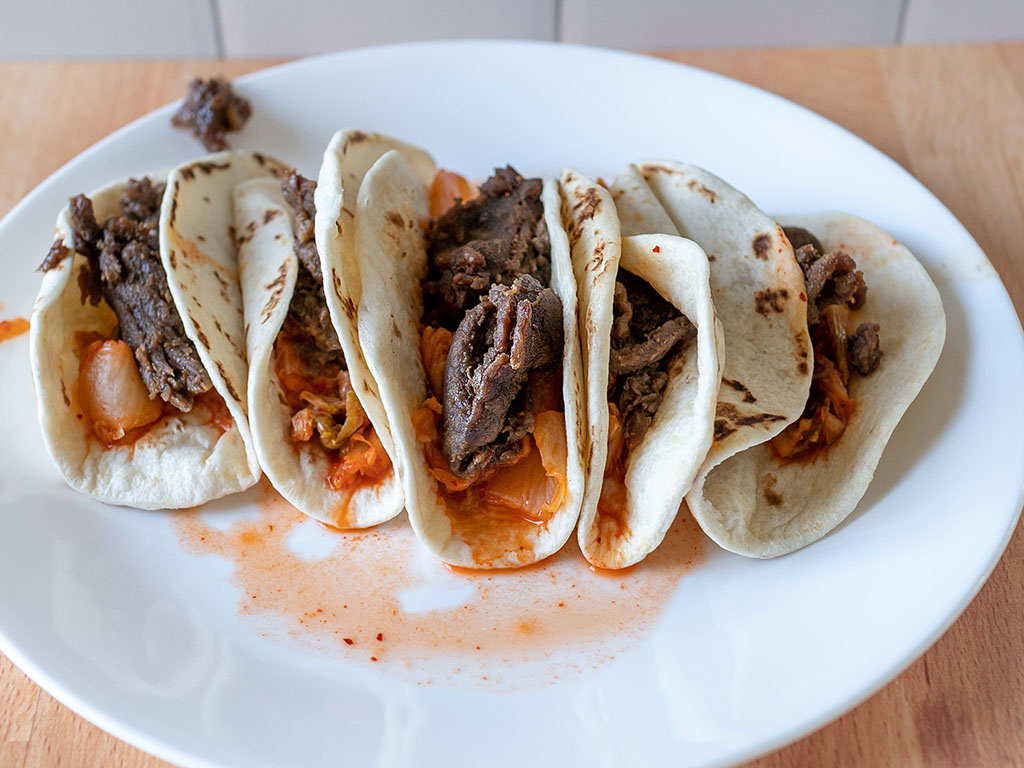Great Value Korean Inspired Beef Street Taco Kit close up cooked