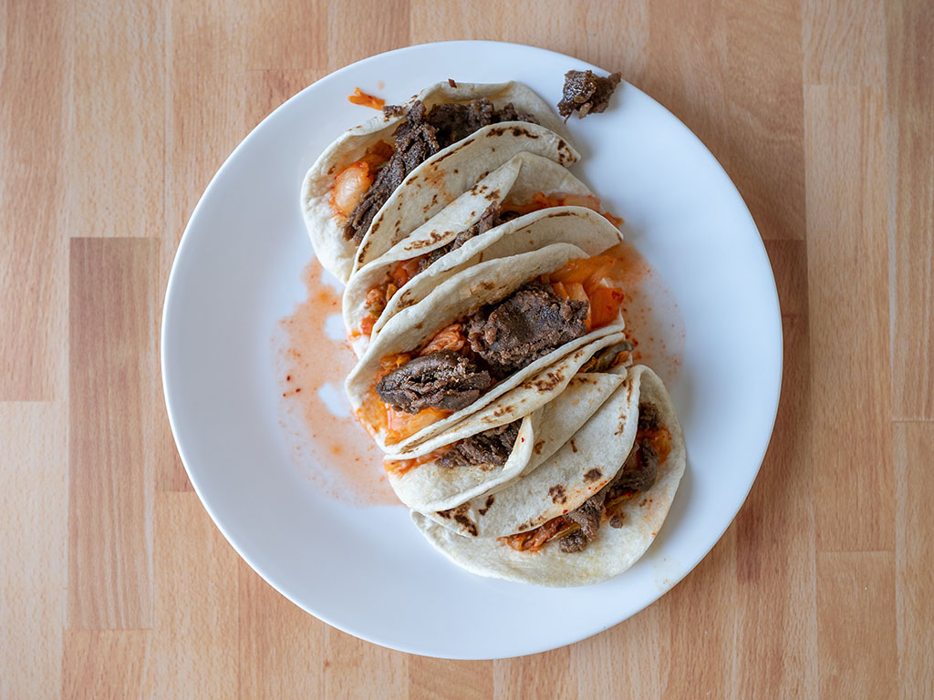 Great Value Korean Inspired Beef Street Taco Kit cooked