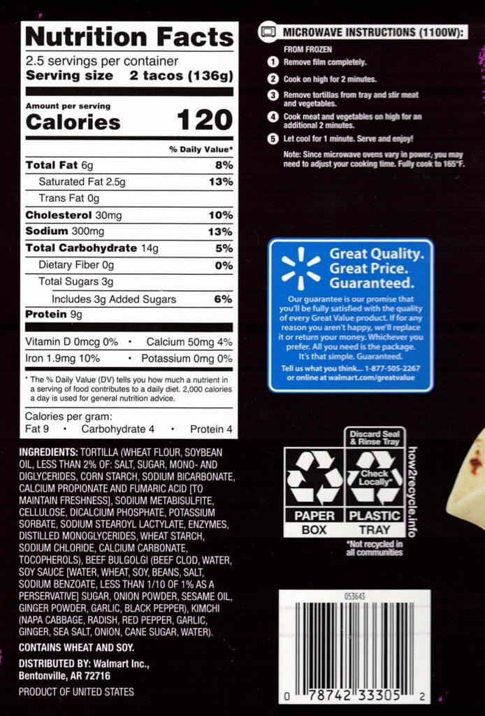 Great Value Korean Inspired Beef Street Taco Kit ingredients, cooking