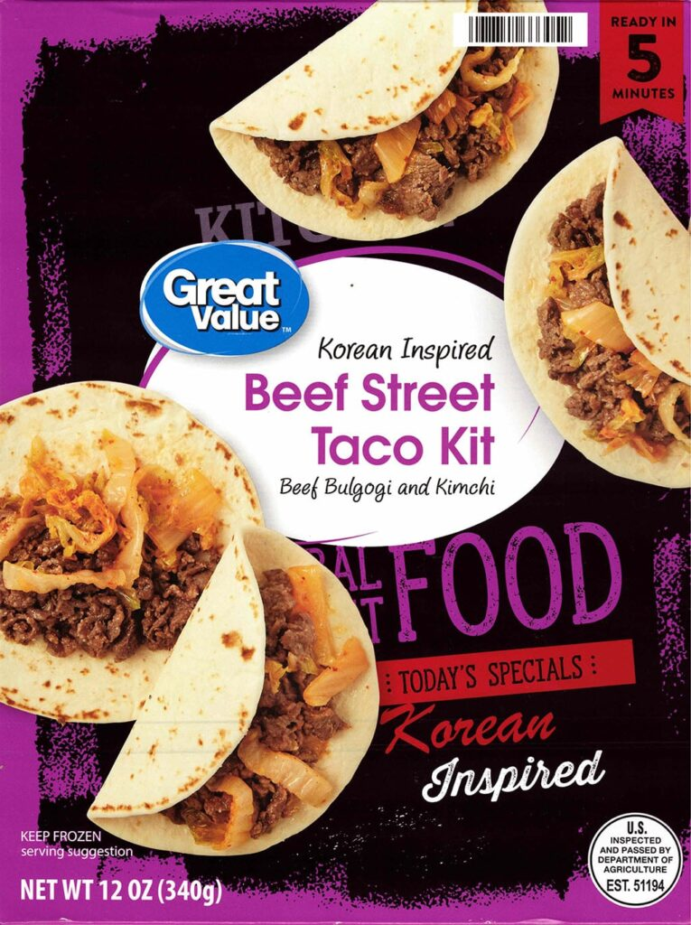 Great Value Korean Inspired Beef Street Taco Kit package front