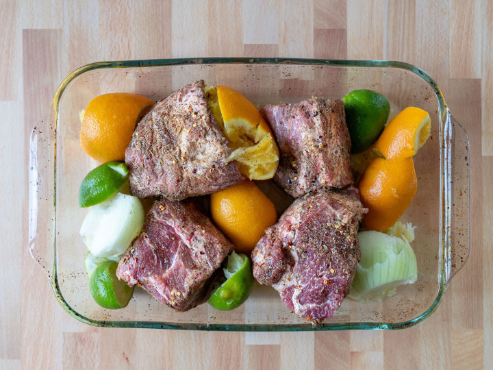 Carinitas recipe - ready for the oven