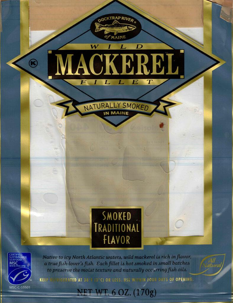 Ducktrap Smoked Wild Mackerel Fillet package front