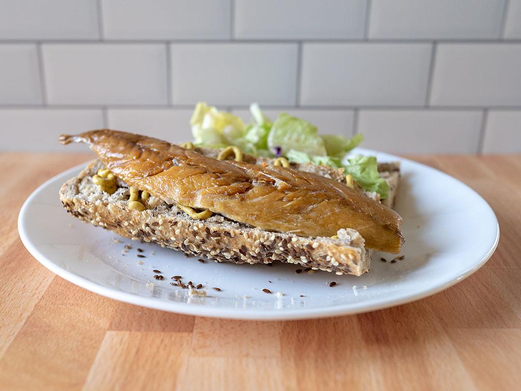 Ducktrap Smoked Wild Mackerel Fillet sandwich closeup