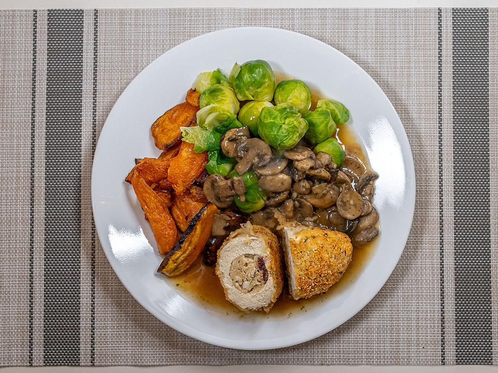 Gardein Savory Stuffed Turk'y with rasot veggies