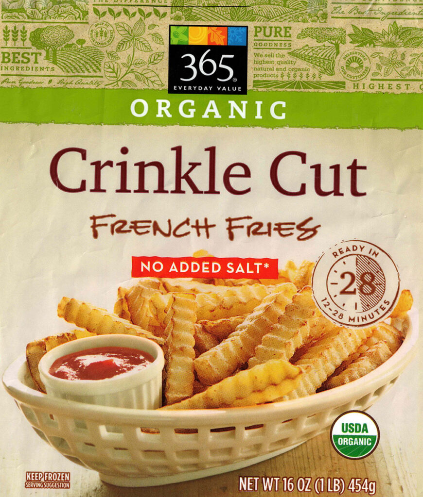 365 Organic Crinkle Cut Fries paclage front
