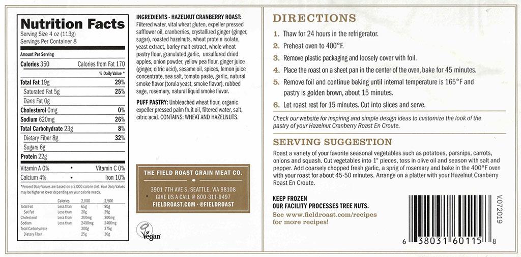 Field Roast Hazelnut Cranberry Roast cooking, ingredients, nutrition