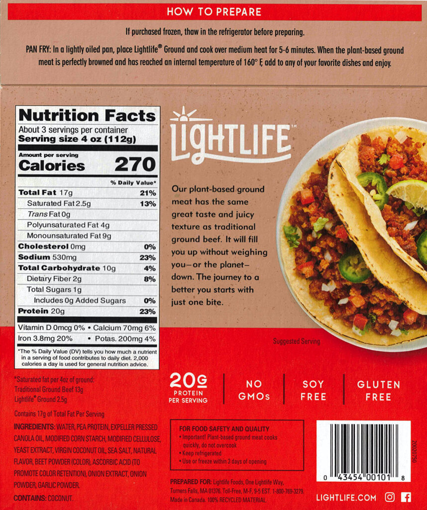 Lightlife Plant Based Ground package nutrition, ingredients