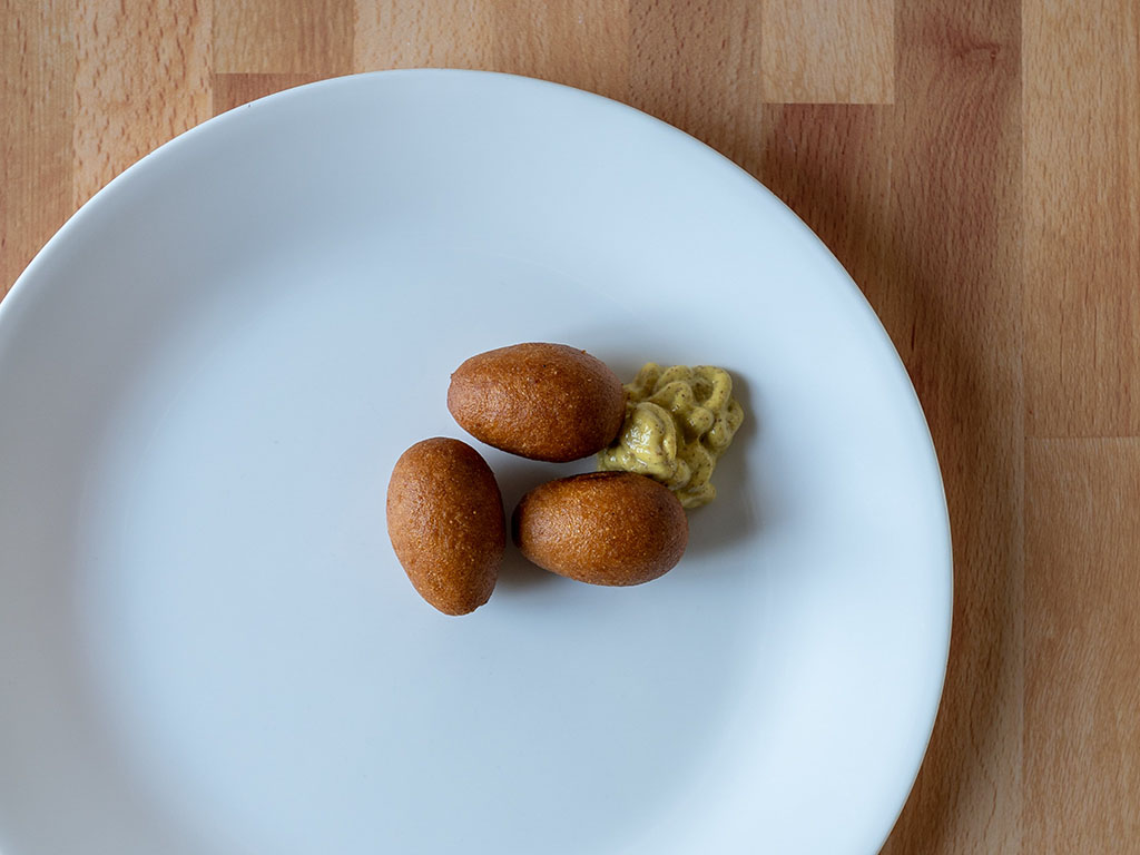 MorningStar Farms Mini Corn Dogs cooked