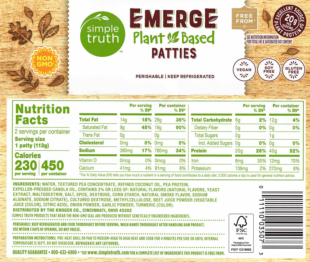 Simple Truth Emerge Plant Based patties ingredients and nutrition