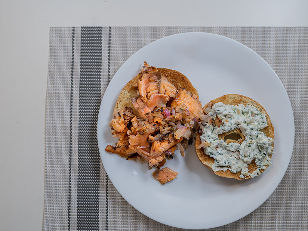 Trader Joe's Pastrami Style Smoked Atlantic Salmon cooked on bagel
