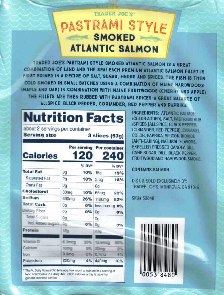Trader Joe's Pastrami Style Smoked Atlantic Salmon nutrition