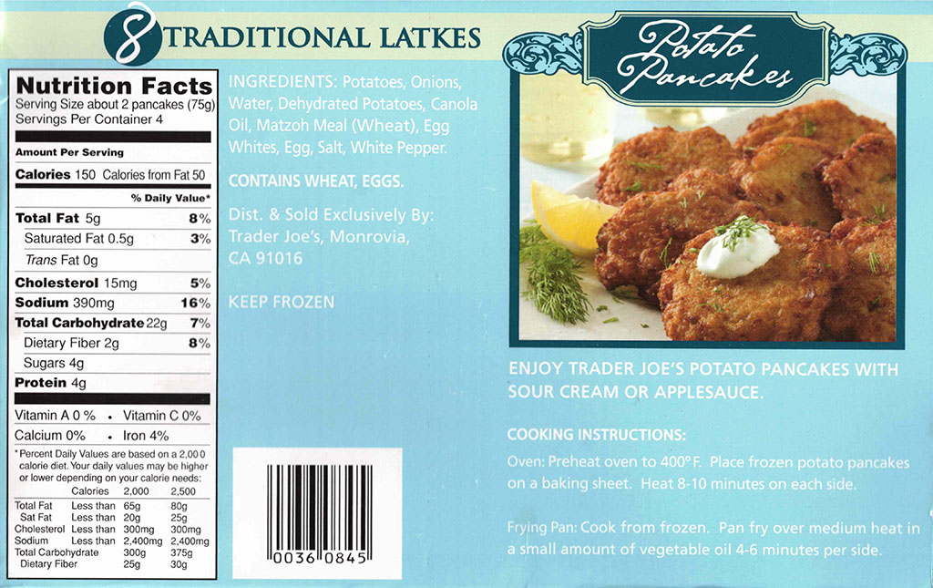 Trader Joe's Traditional Latkes nutrition, ingredients, cooking