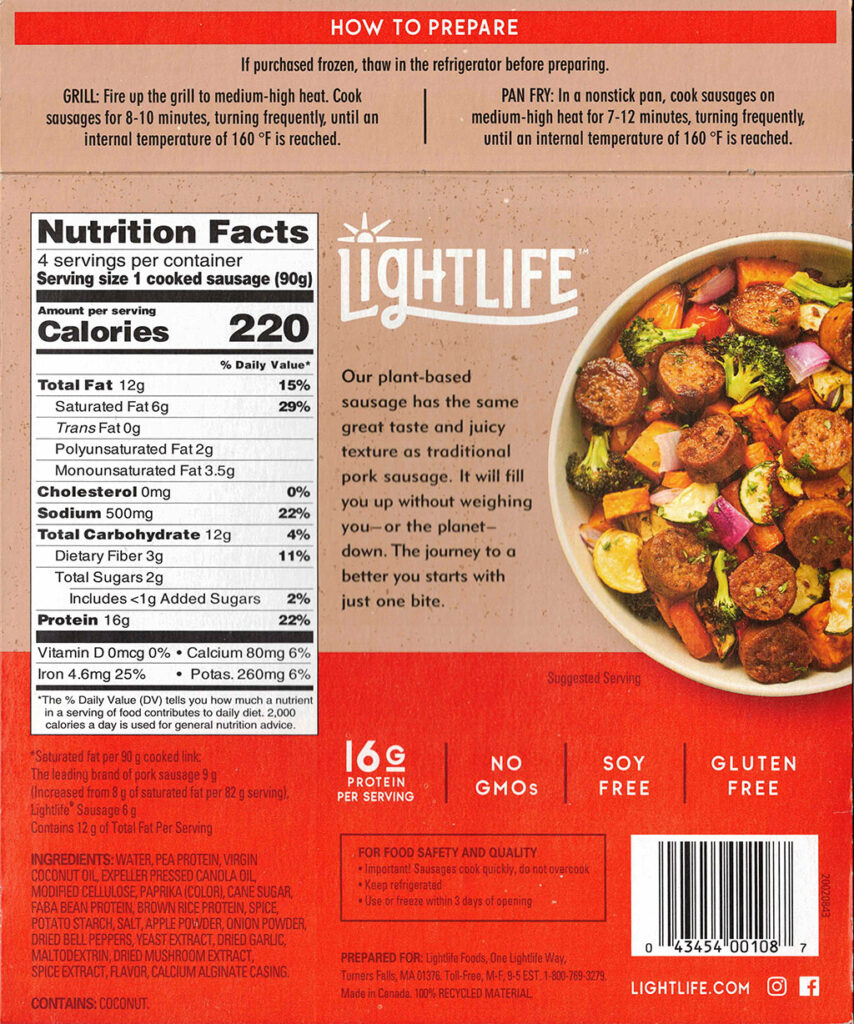 Lightlife Plant Based Sausage ingredients, nutrition