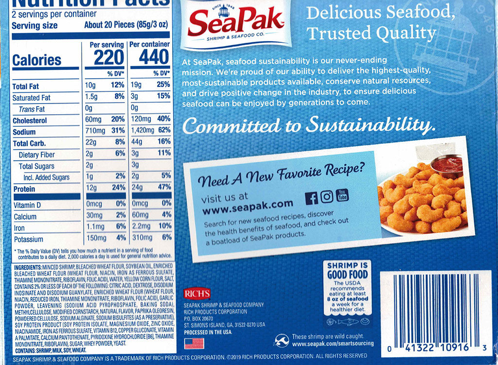 SeaPak Shrimp Poppers nutrition and ingredients