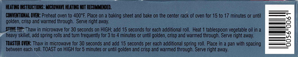 Trader Joe's Vegetable Spring Rolls in the box cooking instructions