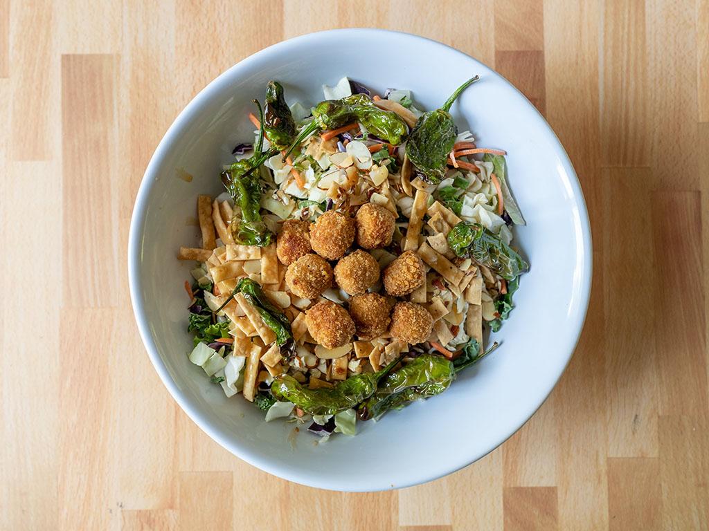 Asian salad with MorningStar Farms Veggie Popcorn Chik'N