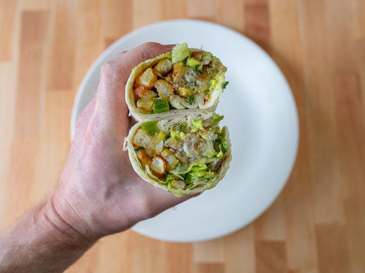 Fish and chip burrito interior