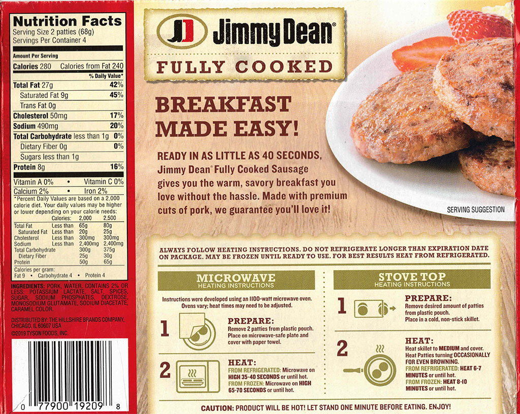 Jimmy Dean Fully Cook Pork Sausage Patties packaging