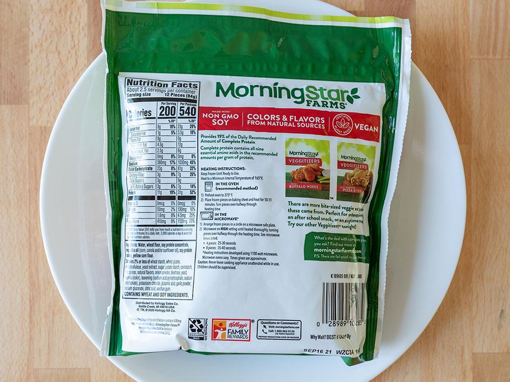 MorningStar Farms Veggie Popcorn Chik'N ingredients