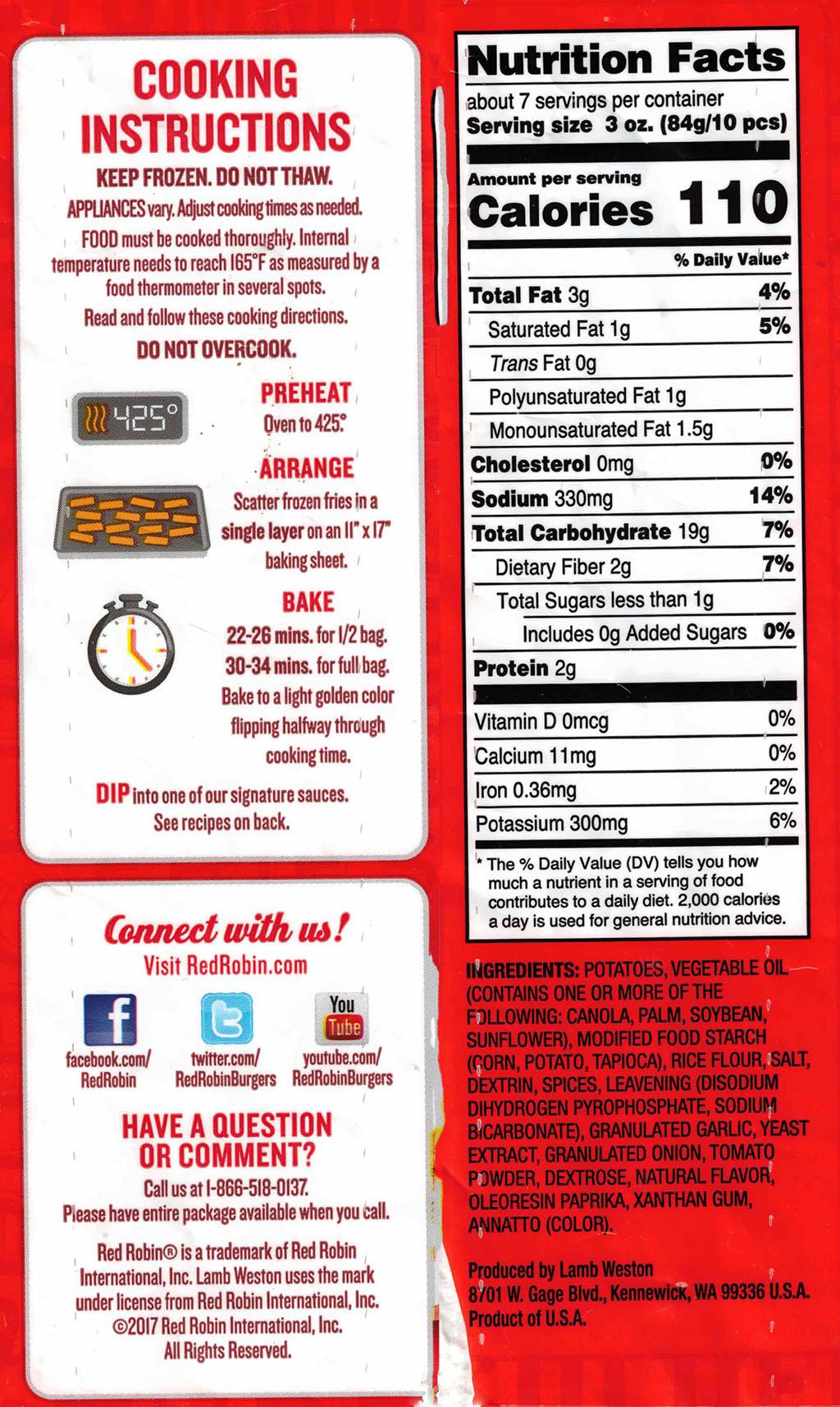 Red Robin Seasoned Steak Fries cooking instructions ingredients, nutrition