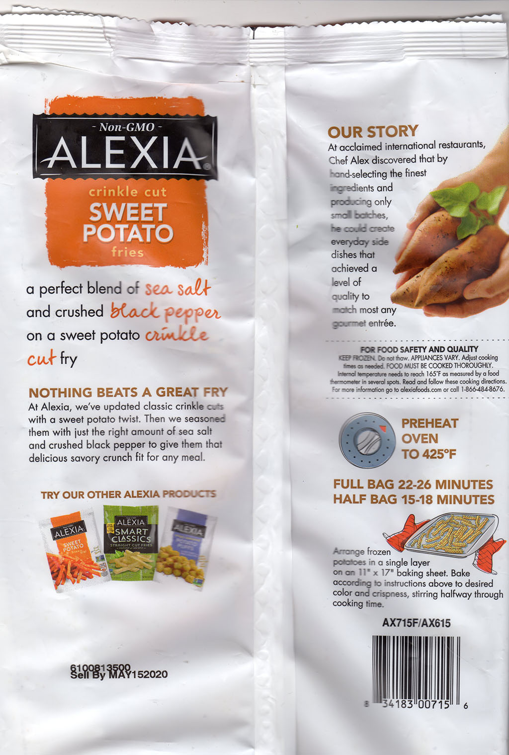 Alexia Crinkle Cut Sweet Potato Fries package rear