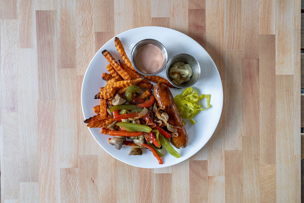 Alexia Crinkle Cut Sweet Potato Fries with Beyond Sausage and peppers